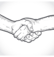 sketch two shaking hands vector image vector image