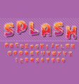 splash lines colorful font design letters vector image
