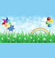 spring background with pinwheels and rainbow vector image