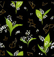 spring floral seamless pattern with lily flowers vector image