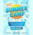 summer camp poster child journey camping comic vector image