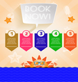 Summer time orange infographic with book now text vector image vector image