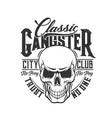 tshirt print skull mascot for city club vector image vector image