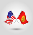 two crossed american and kyrgyzstani flags vector image vector image
