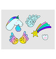 unicorns star wings paw print fantasy vector image