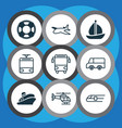 vehicle icons set with tram school bus shipping vector image