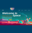 virtual space travel banner with colony base vector image