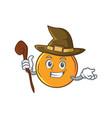 witch orange fruit cartoon character vector image vector image