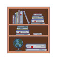 wood library with stack books and world map on vector image