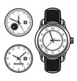 wristwatch and two clock face objects vector image vector image