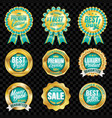 set of excellent quality turquoise badges vector image