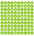 100 shipping icons set green circle vector image vector image