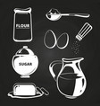 baking ingredients collection on chalkboard vector image