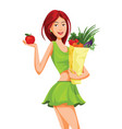 beautiful woman holding an apple and grocery bag vector image vector image