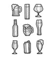 beer icon set hand drawn style vector image