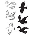 birds flying silhouettes vector image vector image