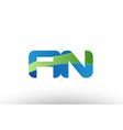 blue green an a n alphabet letter logo vector image vector image