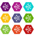 bow and arrows equipment icons set 9 vector image vector image