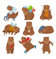 cartoon bears happy bear grizzly eats honey and vector image vector image