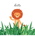cartoon funny lion waving hand and saying hello vector image