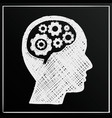 chalkboard head brain gear business man idea vector image
