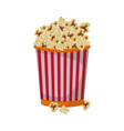 cinema cardboard striped popcorn snack bucket vector image vector image