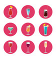 collection of cocktails classical elite wine drink vector image vector image