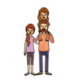 color crayon stripe cartoon family with mother and vector image vector image