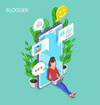 commercial blogger isometric flat vector image
