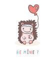 cute cartoon hedgehog with love heart balloon vector image