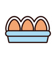 eggs pack line and fill style vector image vector image