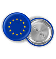 europe flag round brooch pin front and back vector image vector image
