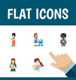 flat icon mother set of perambulator woman baby vector image