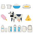 flat style milk products set vector image vector image