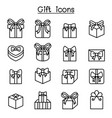 gift box icon set in thin line style vector image vector image