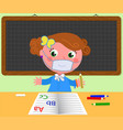 girl at school with protection mask vector image vector image
