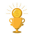 gold coin trophy prize vector image