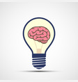 icon light bulb with human brain inside vector image