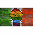 lgbt protest fist on a italy brick wall flag vector image vector image