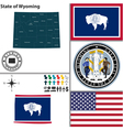 Map of Wyoming with seal vector image
