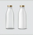 milk bottle realistic empty and full bottles vector image