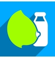 Mother Milk Bottle Flat Square Icon with Long vector image