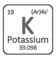 periodic table element potassium icon vector image vector image