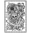pirate skull with jolly roger compass and rope vector image