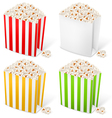 popcorn in multicolored striped packages vector image vector image