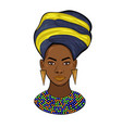 portrait an african princess isolated on a vector image vector image