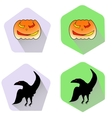 Pumpkin and raven halloween flat icons vector image vector image