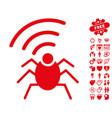 radio spy bug icon with valentine bonus vector image vector image