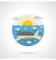 Sea turtle detailed color icon vector image vector image