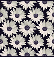 seamless pattern with white daisies on black vector image vector image